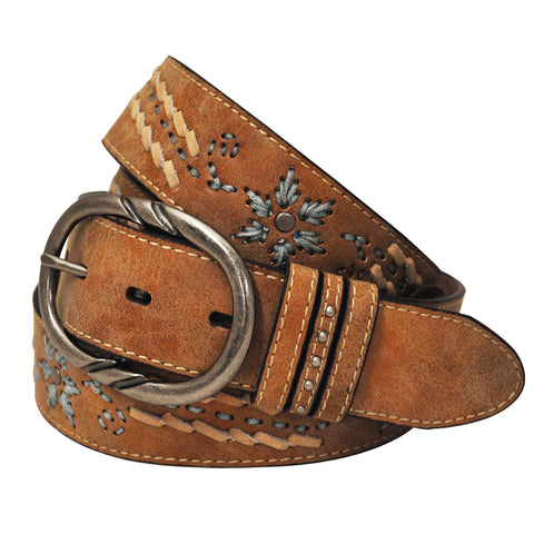 Cowgirls Rock Light Brown Embroidered and Laced Belt
