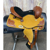 Shiloh Youth Saddle with Tooling in the Corners and Black Felt Seat, 13 Inch Seat