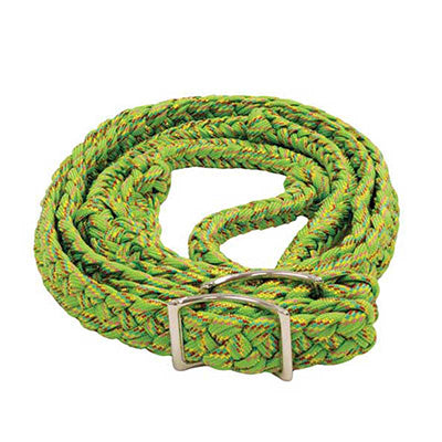 Lime Green Rainbow Glitter Braided Barrel Reins
