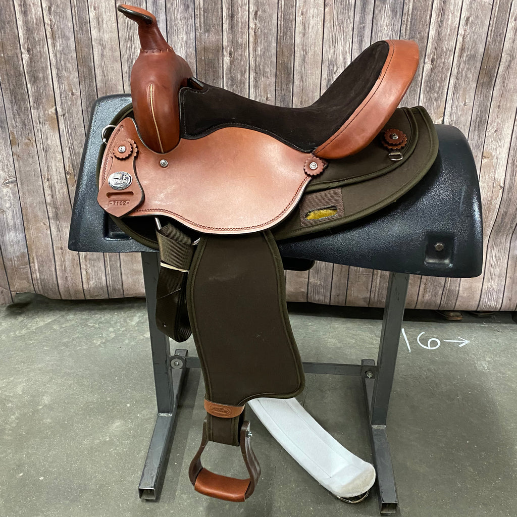 Fabtron Cordura Trail Saddle with black seat and round skirt, 15 Inch Seat