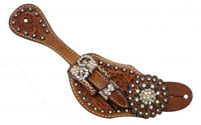 Showman Ladies Tooled Crystal Accented Spur Straps