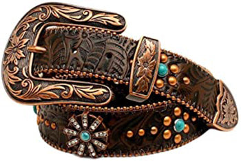 Ladies Floral Embossed Rowel Concho's with Turquoise Rhinestones Belt
