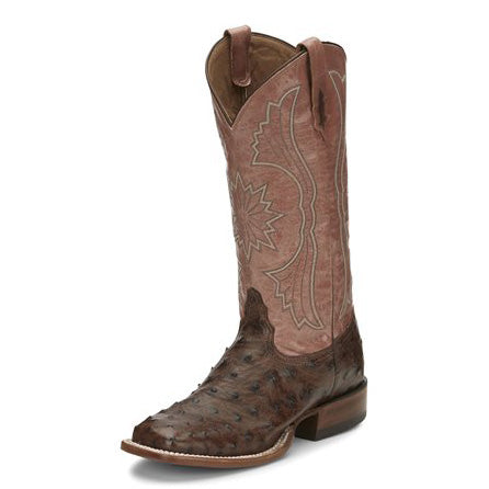 Tony Lama Women's Tobacco Full Quill Ostrich Square Toe Boot