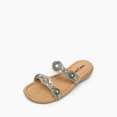 Minnetonka Moccasins Wash Gold Boca Slide