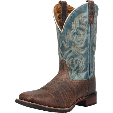 Dan Post Men's Brown and Teal Square Toe Boot