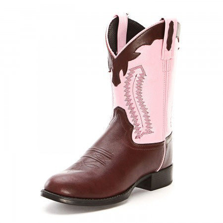 Old West Kid's Chocolate and Pink Round Toe Boot