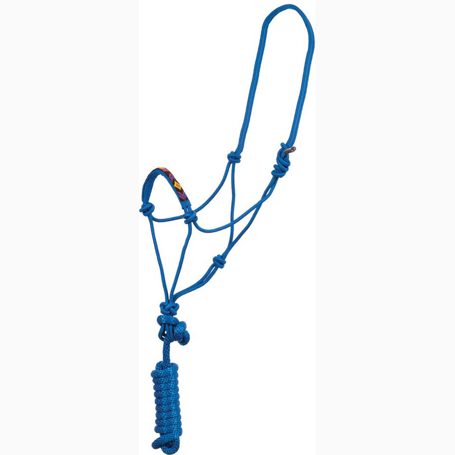 Mustang Blue Beaded Overlay Rope Halter