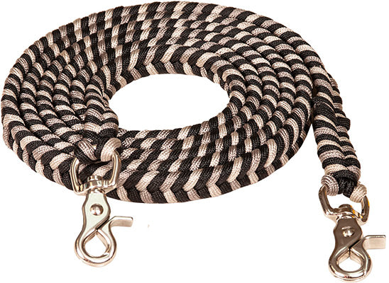 Black and Silver Braided Reins