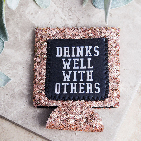 Rose Gold Sequin Drinks Well Koozie