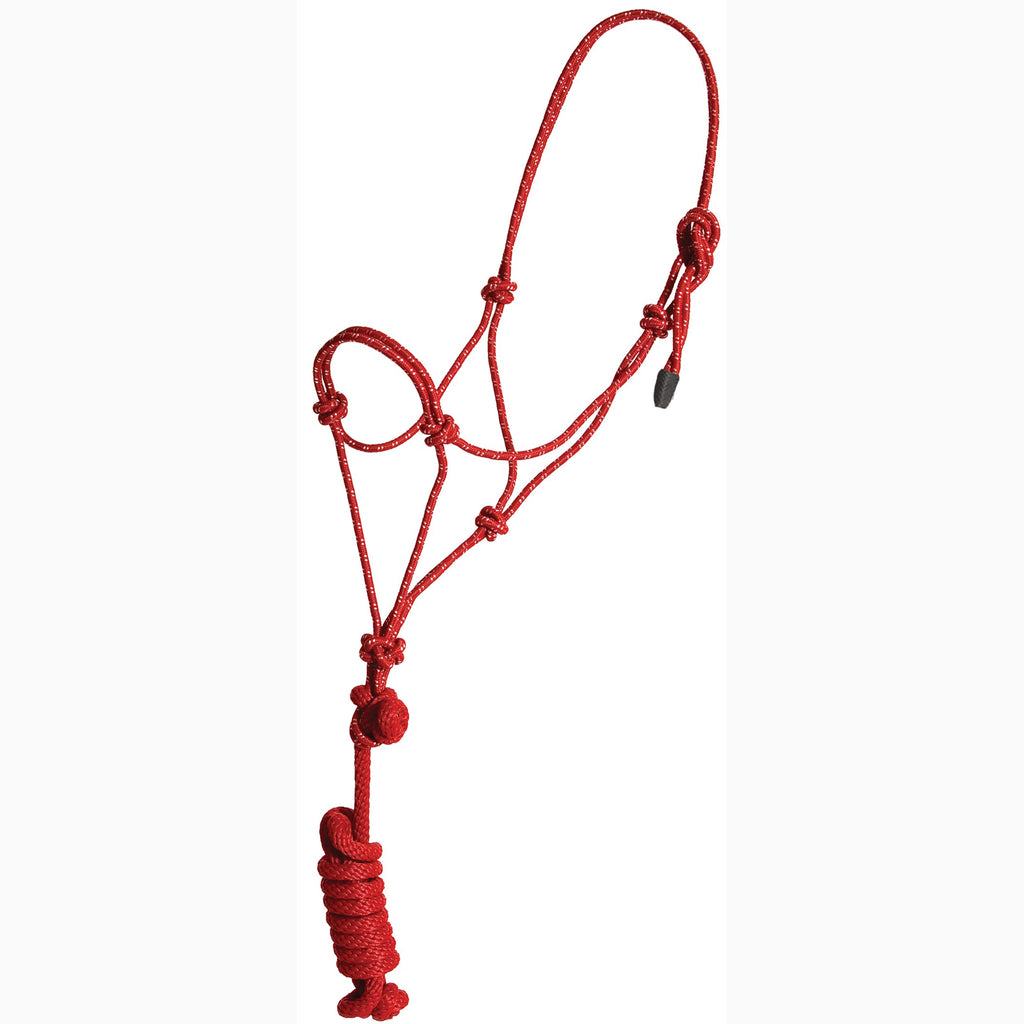Mustang Red and White Yearling Rope Halter