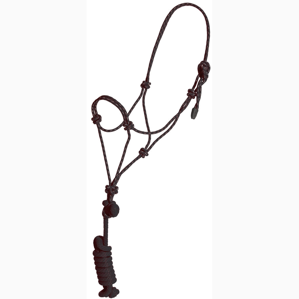 Mustang Black and White Yearling Rope Halter