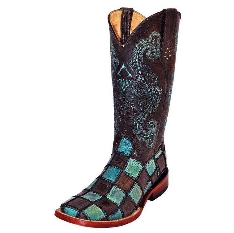 Ferrini Women's Black and Turquoise Patchwork Square Toe