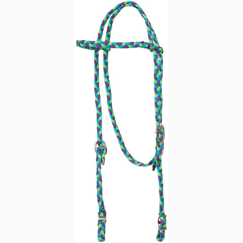 Mustang Turquoise Purple and Lime Browband Headstall