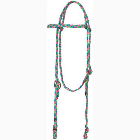 Mustang Pink, Turquoise, and Lime Browband Headstall