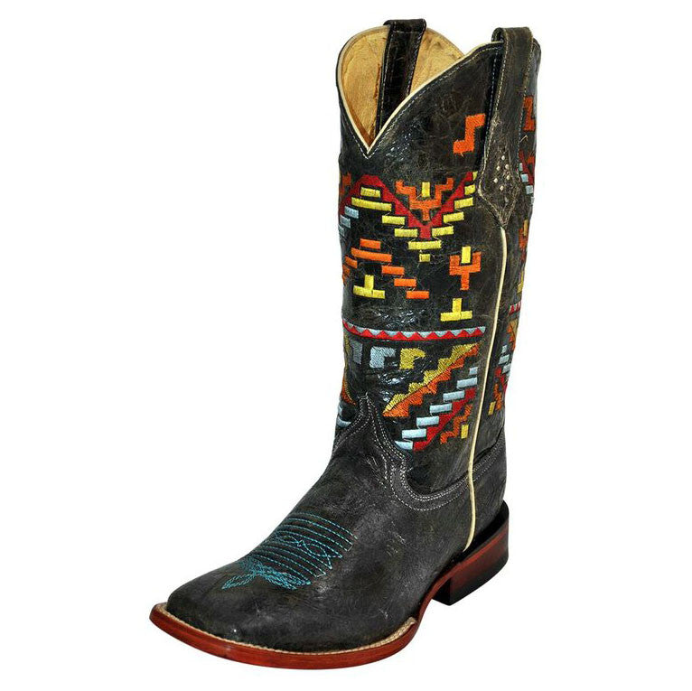 Ferrini Women's Black Cowhide with Aztec Top Square Toe