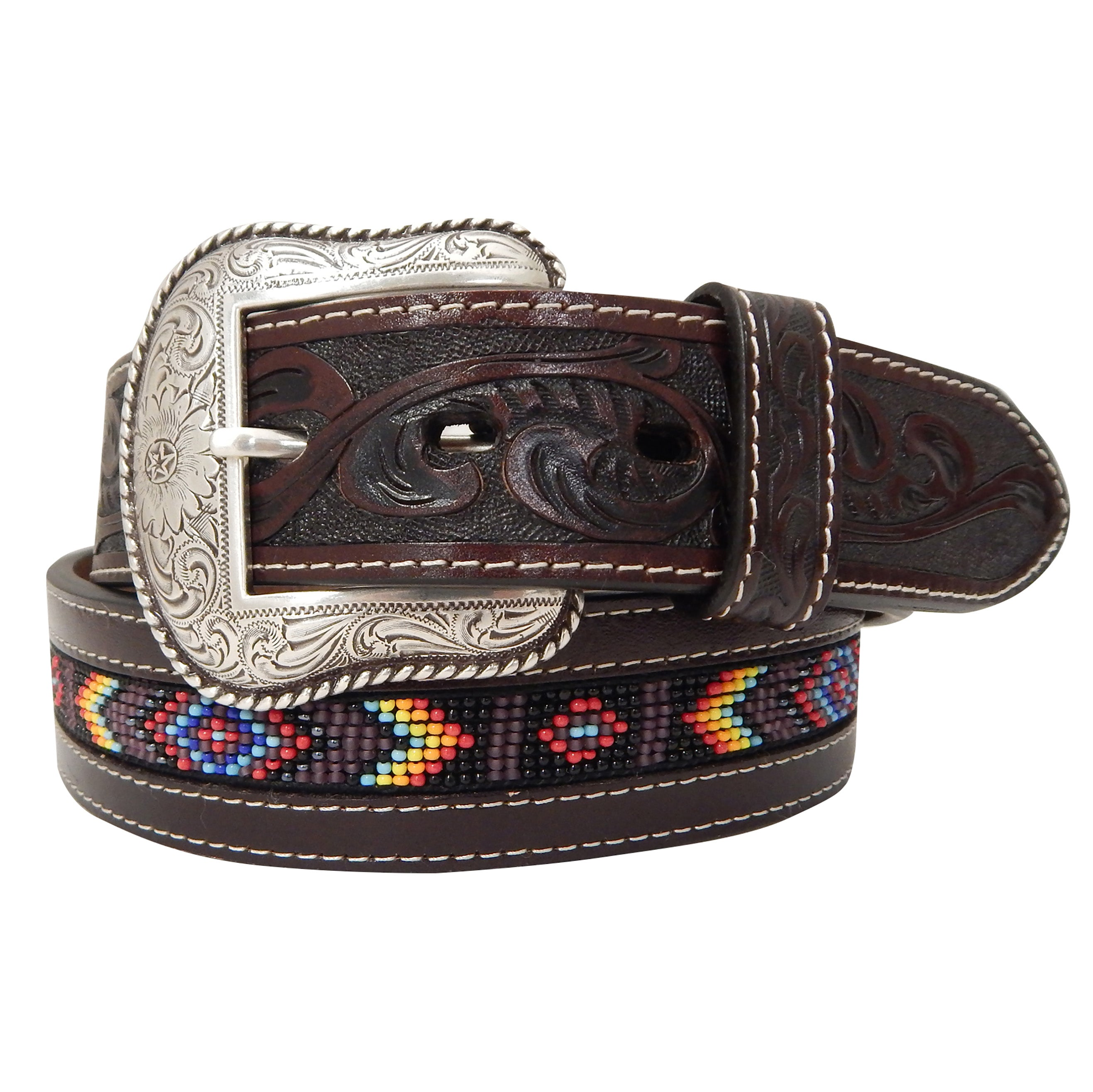 2a01013cf Roper Men's Brown Floral Beaded Belt – Western Edge, Ltd.