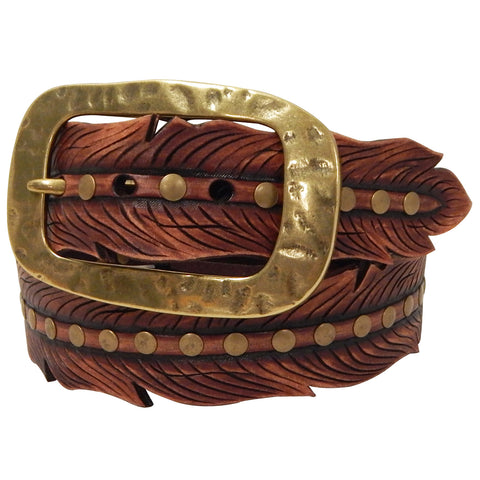 Roper Women's Brown Leather Feather Belt