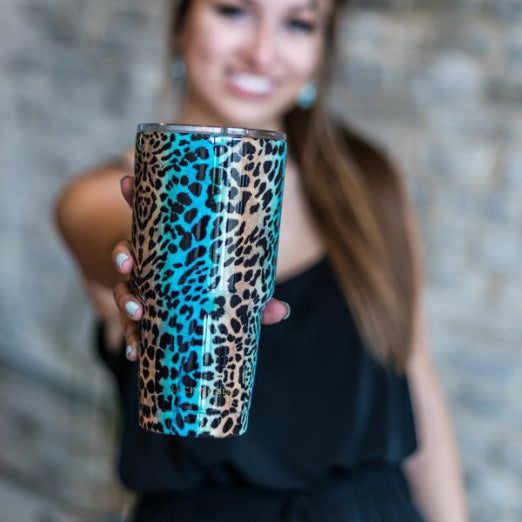 L&B Turquoise and Brown Leopard Tumbler