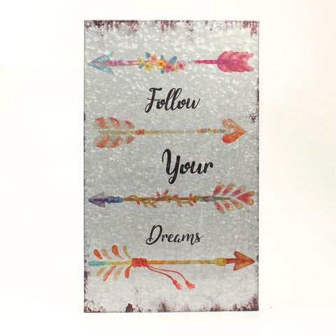 Follow Your Dreams Metal Wall Hanging Sign