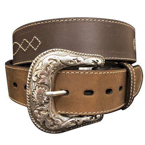 G Bar D Men's Brown Diamond Concho with Overlay Belt