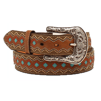 Ariat Women's Brown and Turquoise Diamond Inlay Belt