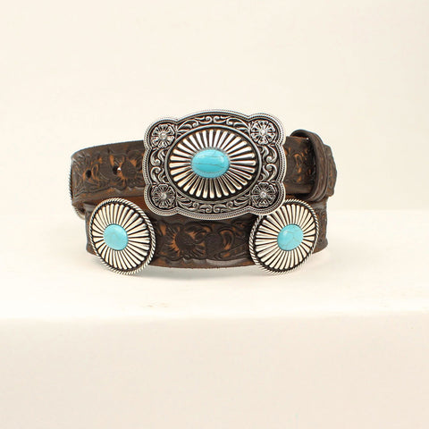 Arait Women's Brown Floral Embossed with Turquoise Stone Belt