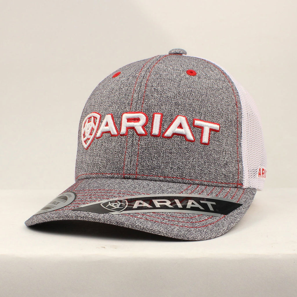 Ariat Red and White Mesh Cap