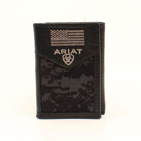 Arait Men's Tri-fold Black Digital Camo Wallet
