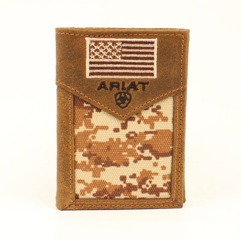 Ariat Men's Tri-fold Brown Digital Camo Wallet
