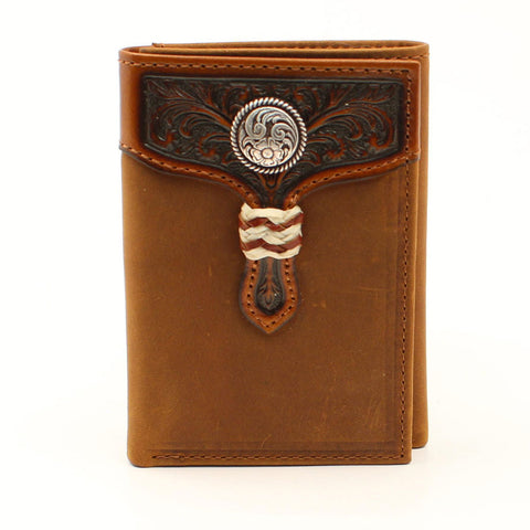 Arait Men's Tri-Fold Brown Rawhide Wallet