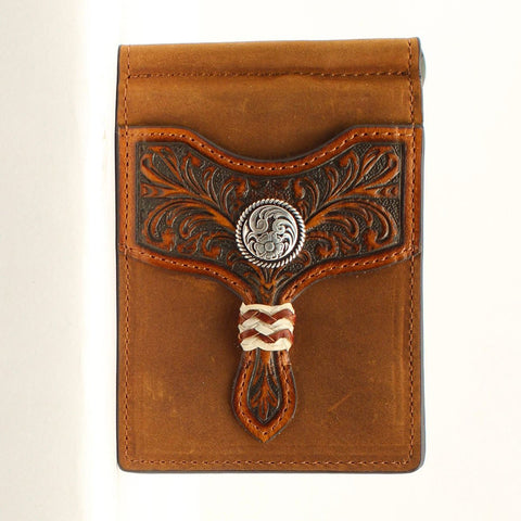 Arait Men's Brown Rawhide Bifold Money Clip