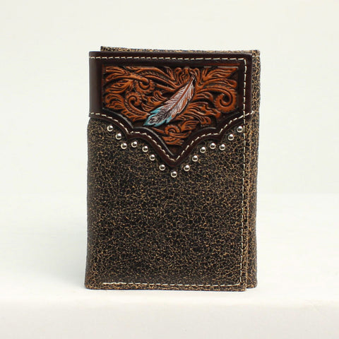 Arait Men's Feather Tri-Fold Wallet