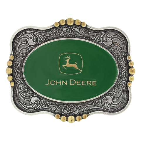 Montana Silver John Deere Two Tone Scalloped Cameo Belt Buckle