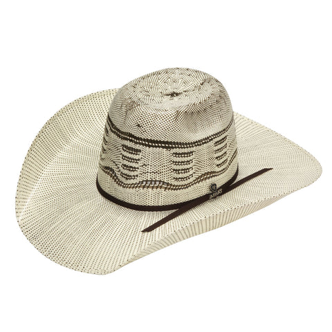 Ariat Bangora Ivory and Brown 2 Cord Chocolate Band Punchy Straw Hat