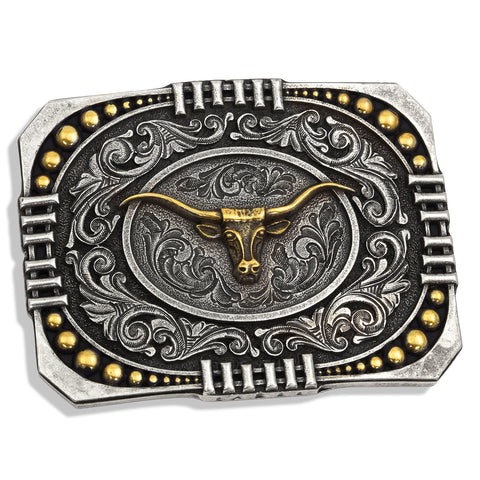 Montana Silver Wrapped Two Tone Longhorn Belt Buckle