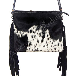 American Darling Black and White Hide with Fringe Purse