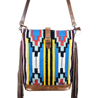 American Darling Blue and Yellow Aztec Blanket Crossbody
