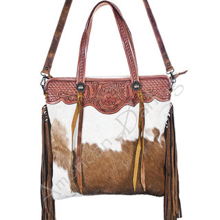 American Darling Tan and White Hide Fringe Purse