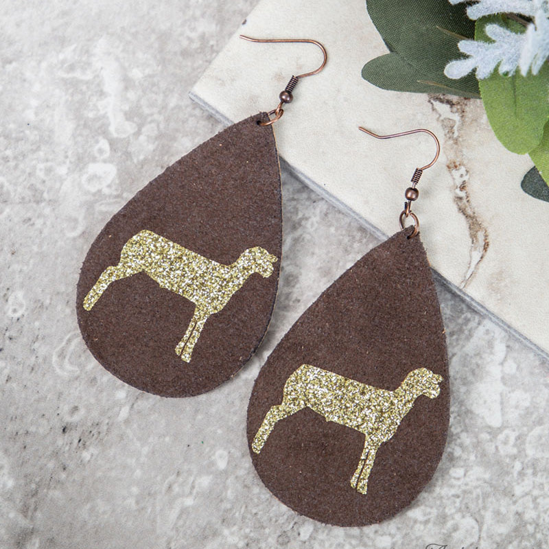 Brown and Gold Glitter Sheep Earring