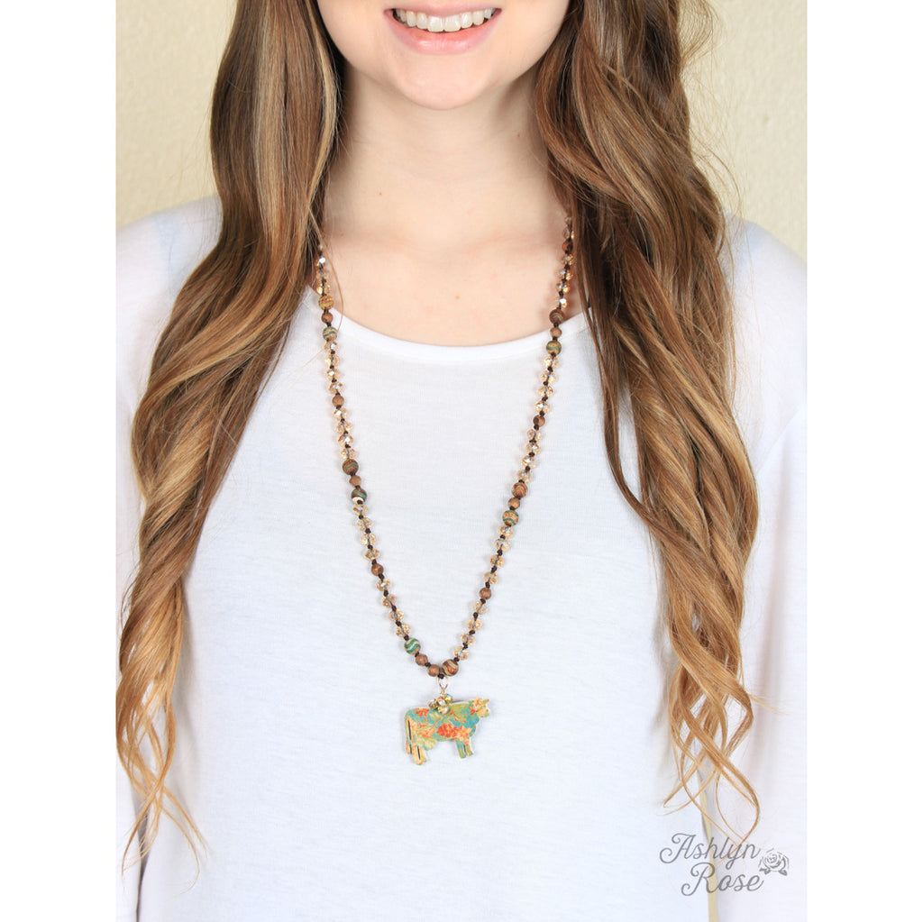 Brown Beaded Floral Steer Necklace