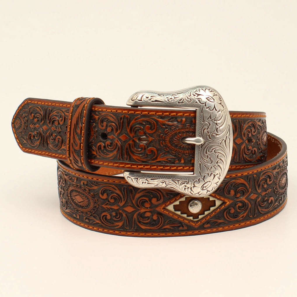 Ariat Men's Brown Floral Embossed Diamond Inlay Belt