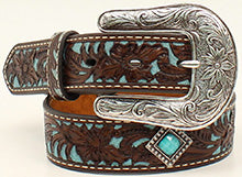 Ariat Girl's Floral Diamond Concho Turquoise Inlay Belt