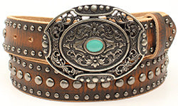 Ariat Women's Brown Distressed Belt with Nailheads