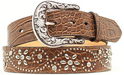 Ariat Women's Brown Croc Print Floral Studded Belt