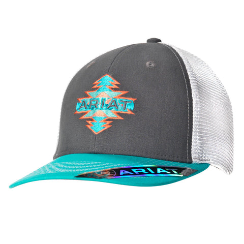 Ariat Grey/Turquoise/Coral Accents Cap