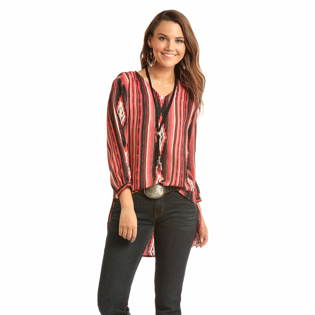 Rock & Roll Cowgirl Women's Red and Black Aztec Hi Lo Shirt