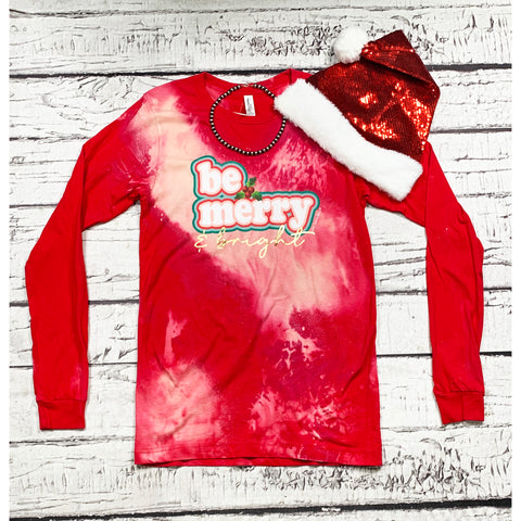 Be Merry Acid Wash Long Sleeve Tee