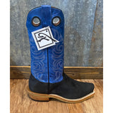 Fenoglio Black Victoria Roughout/Royal Blue Cutter Toe Boots