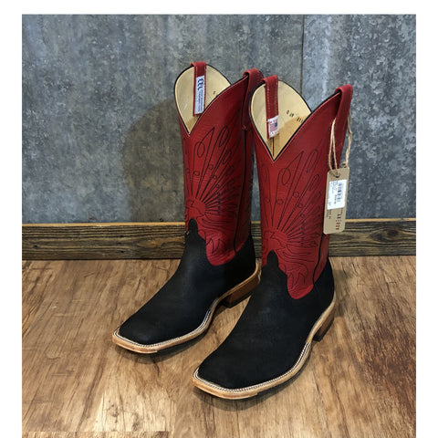 Anderson Bean Black and Red Boar Hide Boots