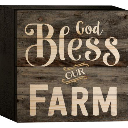 """God Bless our Farm"" Wooden Box Style Sign"